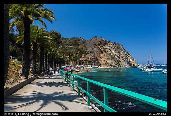 Waterfront promenenade, Avalon Bay, Catalina. California, USA (color)