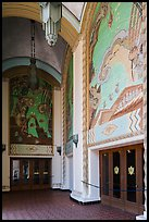 Casino lobby with large frescoes, Catalina Island. California, USA ( color)