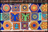 Ceramics on fountain, Avalon Bay, Catalina Island. California, USA (color)