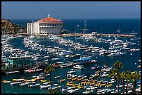 Harbor and casino from above, Avalon Bay, Santa Catalina Island. California, USA (color)