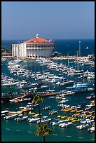Catalina Casino and harbor, Avalon Bay, Santa Catalina Island. California, USA (color)