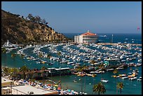 Beach, Pier, harbor, and casino from above, Avalon, Catalina. California, USA (color)