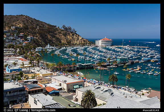Avalon Bay from above, Avalon Bay, Catalina Island. California, USA (color)