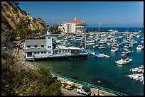 Yacht club, harbor, and Casino, Avalon, Catalina Island. California, USA (color)