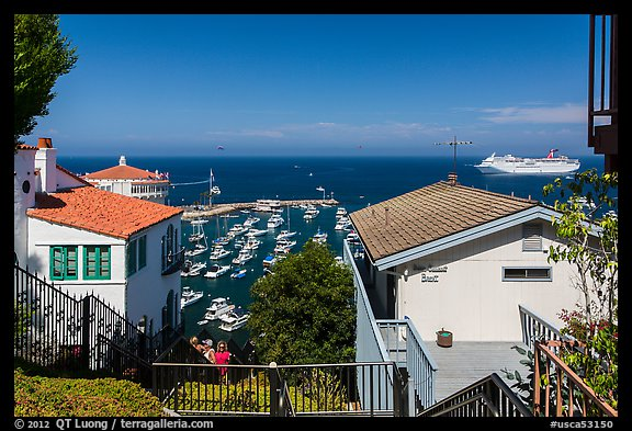 Stairs between residences overlooking harbor, Avalon, Catalina. California, USA (color)
