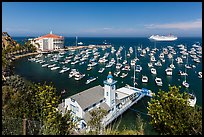 Yacht club, casino, harbor and cruise ship, Avalon, Catalina. California, USA (color)