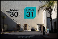 Shadows outside the sound stages, Studios at Paramount lot. Hollywood, Los Angeles, California, USA ( color)