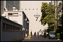 Outside huge stage buildings, Studios at Paramount. Hollywood, Los Angeles, California, USA (color)