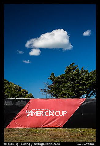 34th Americas cup sign, trees, and clouds. San Francisco, California, USA (color)