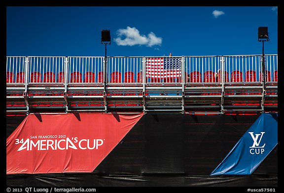 Americas cup empty bleachers from behind. San Francisco, California, USA (color)