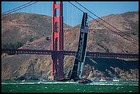 Oracle Team USA defender America's cup boat and Golden Gate Bridge. San Francisco, California, USA (color)