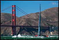 Oracle Team USA AC72 America's cup boat and Golden Gate Bridge. San Francisco, California, USA (color)