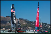USA and New Zealand boats foiling at 40 knots during final race of America's cup. San Francisco, California, USA (color)