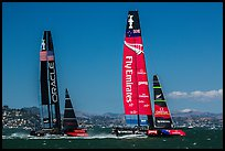 New Zealand boat leading USA boat on first downwind leg of decisive race. San Francisco, California, USA (color)