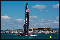 Oracle Team USA AC72 America's cup boat and Alcatraz Island. San Francisco, California, USA (color)