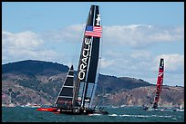 USA boat leading New Zealand boat during upwind leg of America's cup final race. San Francisco, California, USA (color)
