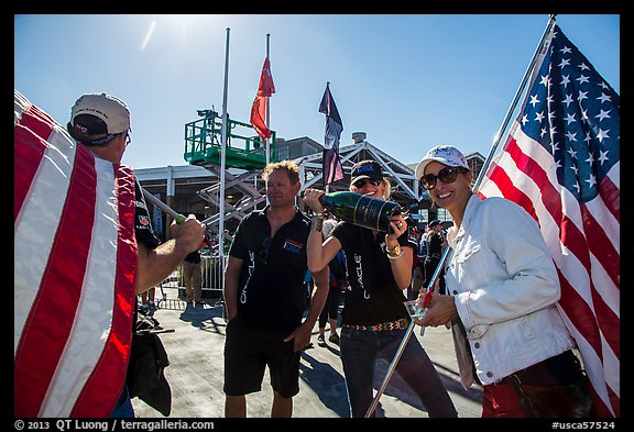 Supporters of team USA celebrating victory in America's Cup. San Francisco, California, USA (color)