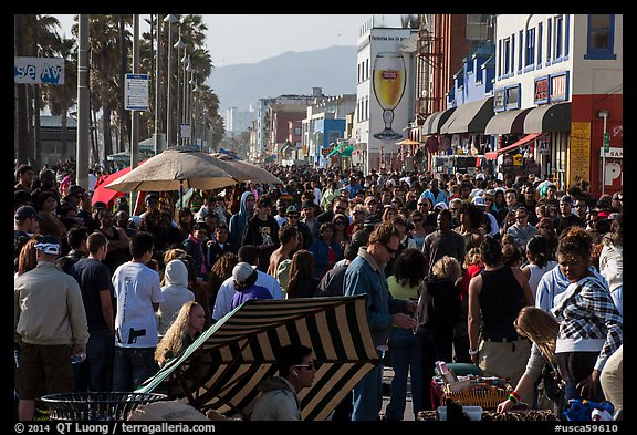Crowds on Ocean Front Walk. Venice, Los Angeles, California, USA (color)