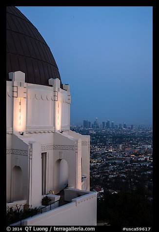 Griffith Observatory and downtown skyline at dusk. Los Angeles, California, USA (color)