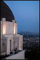 Griffith Observatory and downtown skyline at dusk. Los Angeles, California, USA ( color)