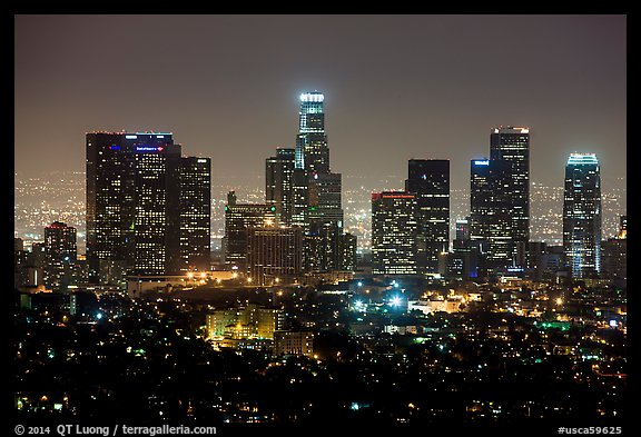 Skyline at night from above. Los Angeles, California, USA (color)