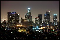 Skyline at night from above. Los Angeles, California, USA ( color)