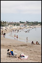 Beach on cloudy day, San Pedro. Los Angeles, California, USA ( color)