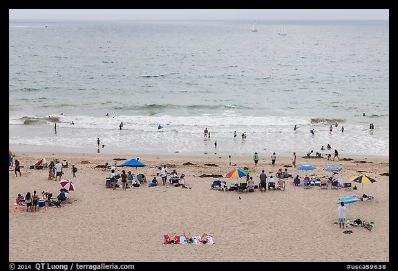 Beachgoers from above, Redondo Beach. Los Angeles, California, USA (color)