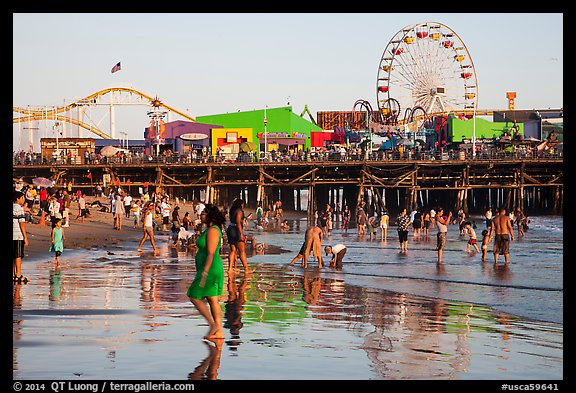 Beach and pier. Santa Monica, Los Angeles, California, USA (color)