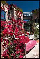 Red flowers and bench with pillows in shopping area. Beverly Hills, Los Angeles, California, USA ( color)