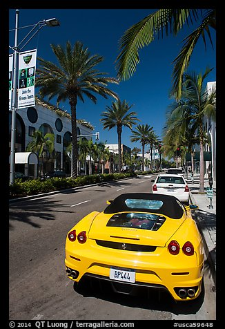 Ferrari car parked on Rodeo Drive. Beverly Hills, Los Angeles, California, USA (color)