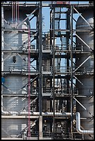 Detail of stairs and process unit in oil refinery, Manhattan Beach. Los Angeles, California, USA ( color)