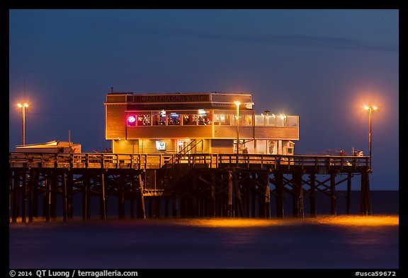 Newport Pier And Restaurant At Night Beach Orange County California USA