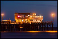 Newport Pier and restaurant at night. Newport Beach, Orange County, California, USA ( color)