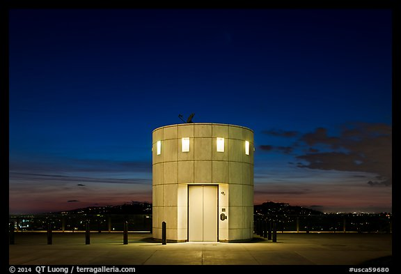 Elevator tower at night, Griffith Observatory. Los Angeles, California, USA (color)
