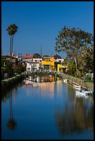 Brightly painted houses along canal. Venice, Los Angeles, California, USA ( color)