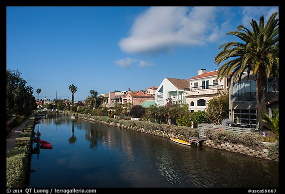 Residences, Venice Canal Historic District. Venice, Los Angeles, California, USA (color)