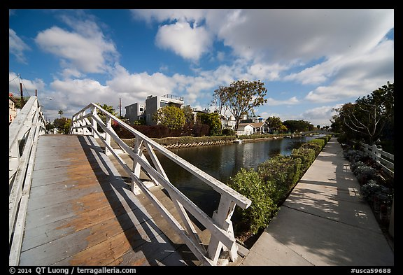 Bridge and walkway, Venice Canal Historic District. Venice, Los Angeles, California, USA (color)