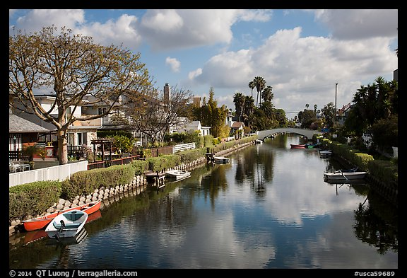 Venice Canal Historic District. Venice, Los Angeles, California, USA (color)