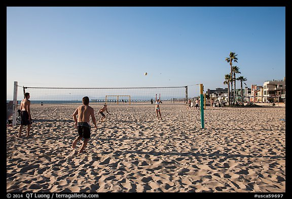Beach volleyball, Hermosa Beach. Los Angeles, California, USA (color)