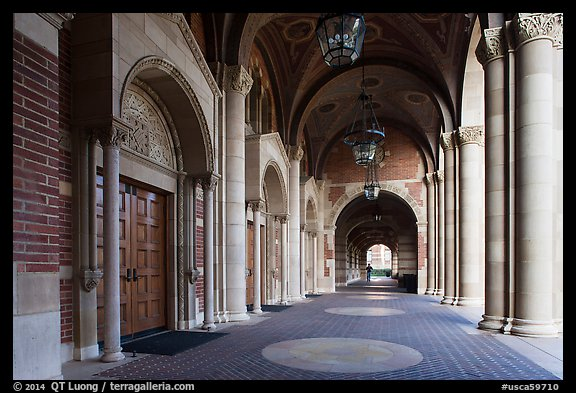 Royce Hall gallery, UCLA, Westwood. Los Angeles, California, USA (color)