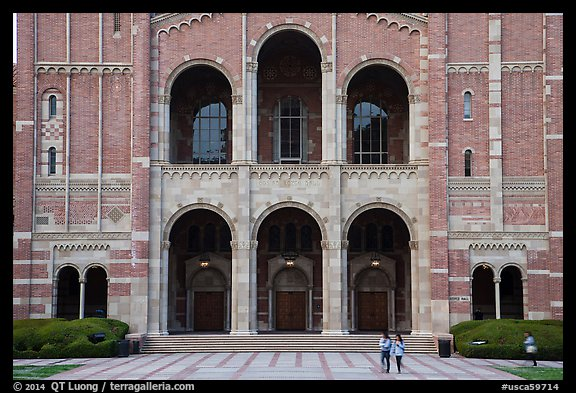 Facade of Royce Hall, University of California at Los Angeles, Westwood. Los Angeles, California, USA (color)