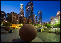 Pershing Square and skyscrappers at dusk. Los Angeles, California, USA ( color)