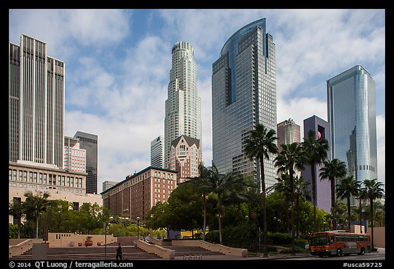 Skyscrappers around Pershing Square. Los Angeles, California, USA (color)