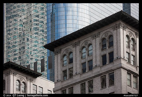 Stone and glass buildings in downtown. Los Angeles, California, USA (color)