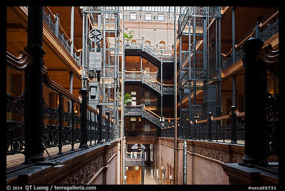Interior of Bradbury Building. Los Angeles, California, USA (color)