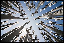 Looking up Chris Burden art installation of street lamps at LACMA. Los Angeles, California, USA ( color)