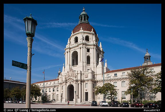 Lamp post and city hall. Pasadena, Los Angeles, California, USA (color)