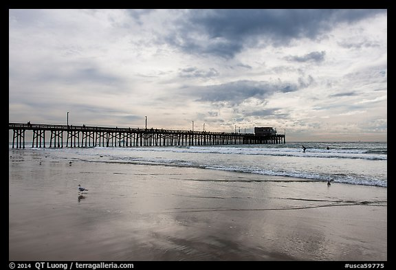 Newport Pier and clouds. Newport Beach, Orange County, California, USA (color)