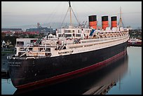 View of Queen Mary from above. Long Beach, Los Angeles, California, USA ( color)